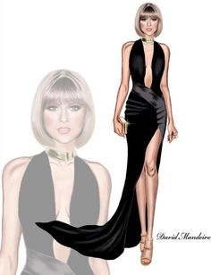 Taylor Swift opted for a daring Taylor Swift opted for a daring Alexandre Vauthier Couture dress and Giuseppe Zanotti metallic sandals. Digital drawing by David Mandeiro Illustrations Illustration Mode, Fashion Illustration Sketches, Fashion Sketches, Alexandre Vauthier, Taylor Swift, Award Show Dresses, Dress Design Drawing, Moda Chic, Fashion Art