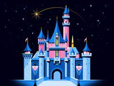 Sleeping Beauty's Castle 🏰 designed by Jarod Octon. Disney Castle Drawing, Disney Drawings, Disney Castle Tattoo, Disneyland Castle, Vintage Disneyland, Disneyland Resort, Disney Magic, Disney Art, Disney Travel