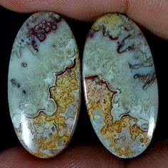 19.75Cts 100% NATURAL CRAZY LACE AGATE DESIGNER GEMSTONE OVAL CABOCHON PAIR #Handmade