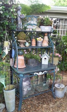 French bakers rack potting bench.