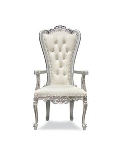 King Throne Chair, King On Throne, Upholstered Chairs, Diy And Crafts, Ivory, Lounge Chairs, Armchairs, Silver, House