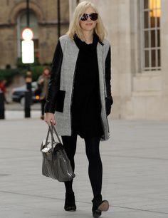 Fearne Cotton con abrigo en gris y negro