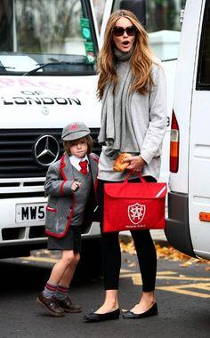 elle macpherson busca o filho na escola