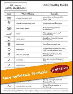 Begin using proofreading symbols with your elementary-age kids with this FREE printable chart from WriteShop.