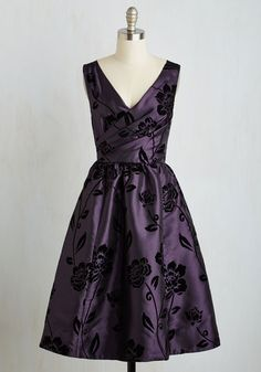 Posh at the Party Dress in Plum by ModCloth - Purple, Black, Floral, Print, Special Occasion, Cocktail, Holiday Party, Vintage Inspired, Fit & Flare, Sleeveless, Woven, Better, Exclusives, Private Label, V Neck, Long