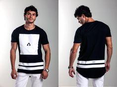 Camiseta ARRISK Square, modelagem long Tail, 100% algodão, estampa em silk. Ref: A003 / R$99,00  /  Vendas WhatsApp: 99633-3563