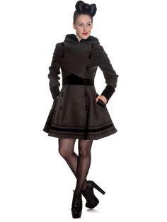 Vintage Sofia Hooded Winter Swing Coat in Grey Alternative Mode, Alternative Fashion, Uk Fashion, Autumn Fashion, Fashion Ideas, Fashion Inspiration, Dark Edgy Fashion, Mode Mantel, Coats For Women