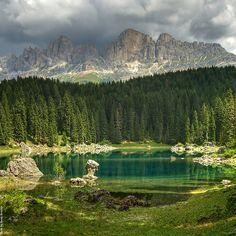 Carezza Lake 'Rainbow Lake'  - Dolomites, Italy. 1,520 metres above see level