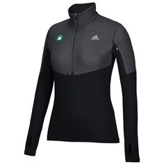 Women's Adidas Boston Celtics Team Logo 1/2-Zip Pullover ($35) ❤ liked on Polyvore featuring black, long sleeve pullover, zipper front top, long sleeve tops, 1 2 zip pullover and half zip tops