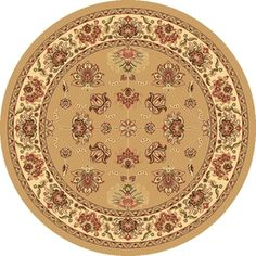 Rugs America�New Vision Round Cream Floral Area Rug (Common: 5-ft x 5-ft; Actual: 5-ft 3-in x 5-ft 3-in)