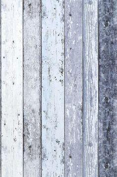 Papel pintado Old Planks (Azul pálido, Blanco crema, Azul grisáceo) | Papeles de los 70