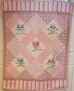 Very Cute Appliqued Pink Owl Baby Quilt by sunflowerchickentoo, $90.00