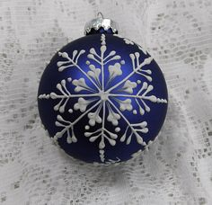 Dark Blue Hand Painted 3D Snowflakes MUD Ornament by TheMUDLady, $25.00