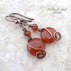 Copper Wire wrapped earrings - handmade Copper jewelry - Red Carnelian gemstone - dangle earrings - wire jewelry by PillarOfSaltStudio on Etsy https://www.etsy.com/listing/578415991/copper-wire-wrapped-earrings-handmade