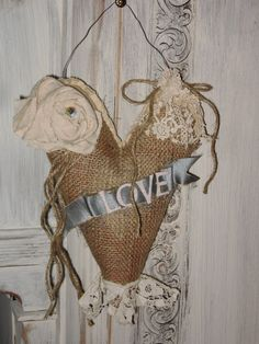 Burlap Heart Shabby Chic LOVE Valentine Heart  by Fannypippin,