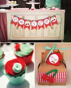 Red & Teal Rosette Cupcakes, party favor box & garland