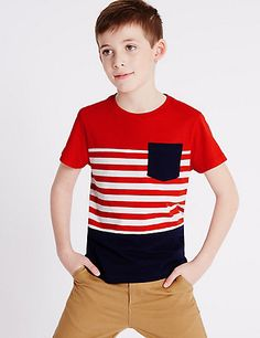Buy the 2 Pack Pure Cotton T-Shirts Years) from Marks and Spencer's range. Kids Clothes Boys, Kids Boys, Nautical Stripes, Kind Mode, Kids Wear, Cute Boys, Poses, Boy Outfits, Shirt Designs