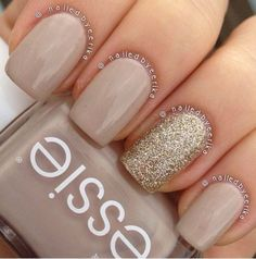 My super quick and simple essie sand tropez with china glaze I'm not lion accent nail polish ideas Diy Ongles, Ongles Beiges, Hair And Nails, My Nails, Nagel Hacks, Prom Nails, Gold Nails, Sparkle Nails, Gold Sparkle