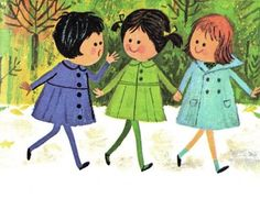 cute vintage illustration children book    katy's first day of school