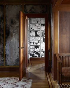 "Edgy comic-strip walls in this manhattan apartment are an homage to Guido Crepax's ""Valentina"" series."