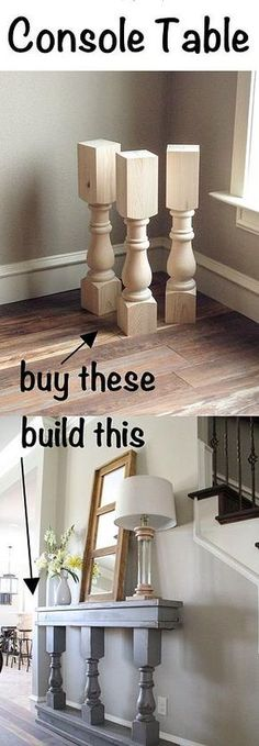 Easy DIY Console Table – very cool, especially for a narrow entry way - DIY Furniture Couch Ideen Furniture Projects, Furniture Makeover, Home Projects, Diy Furniture, Furniture Plans, Building Furniture, Bedroom Furniture, Furniture Storage, Furniture Design