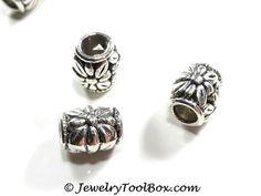 Barrel Beads, 11x10mm, 5mm Large Hole, Antique Silver Pewter, Lot Size 6 to 30, #1258
