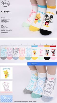 0847f4a45 [intype socks] Mickey Minnie Mouse Pooh Daisey socks. US size : 6~8.5 EURO  SIZE : 37 ~ 39.5 (women's & big kids size) qoo10.co.sg