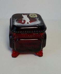 Westmoreland Ruby Red Glass Box with Hand Painted Boy Fishing. 1983. Signed. by Cosasraras on Etsy