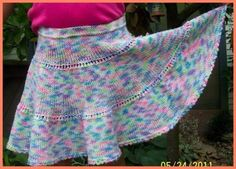 Pretty Girl Skirt At A Closer Look: Can you tell me the measurements for this skirt? I want to make it for my daughter but she's older than these girls are.  Easy Summer Knitting Pattern
