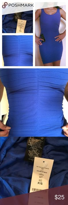Bebe blue bodycon dress Ruched stretchy light fabric bebe Dresses Mini
