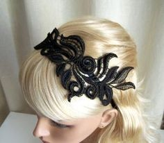 Lace Headband (source: http://www.wanelo.com/women/$+27.00+Delphinium+black+lace+headband+by+StitchFromTheHeart+on+Etsy-305951.html)