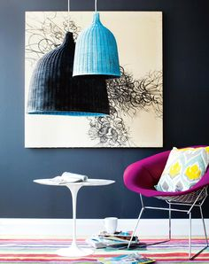 Two-Toned Lights  Loving this super-easy project idea from the September issue of Chatelaine magazine. Customize an Ikea LERAN wicker lampshade by spray painting it two-toned.