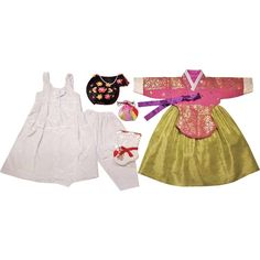 Pink with Gold Stamping and Green Dress - Girl Dol Hanbok Set - 7 Pieces