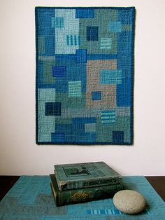 Boro Blues - Stitched Patched and Quilted Wall Hanging by BooDilly's, via Flickr