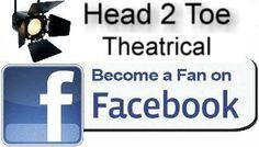Find Head 2 Toe Theatrical on Facebook.   FREE U.S. shipping. Stage, movie production, costume, Mehron, cosmetic, makeup, salon, wig, pageant, fashion model, dance, wedding, prom, photography, parade, TV, special effects, FX, adult, child, bald cap, face paint, tights, socks, novelty, strange, bizarre, nose, mustache, mannequin, clown, prop