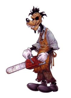 Goofy as Leatherface... somehow this seems like a mash-up meant to be. #Disney, needs to get off their ass a create a horror division! #leatherface