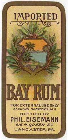 Imported Bay Rum label