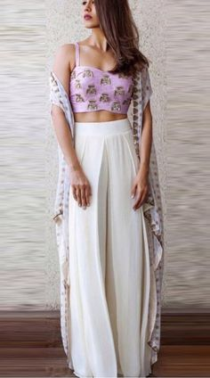 Buy Floral White And Purple Color Plazo Dress by Akanksha Singh at Fresh Look Fashion Dress Indian Style, Indian Dresses, Western Dresses, Western Outfits, Pakistani Dresses, Indian Attire, Indian Wear, Indian Suits, Indian Designer Outfits