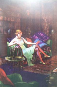 1930's LEEDS ART DECO FLAPPER GIRL SMOKING CIGARETTE VINTAGE ADVERTISING SAMPLE