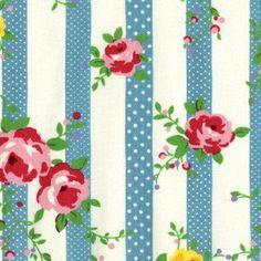 Lecien Flower Sugar Blue Floral Stripe Quilt Fabric