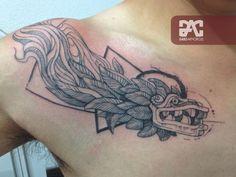 Quetzalcoatl Tattoo Line fine Tattoo Black Line Tattoo