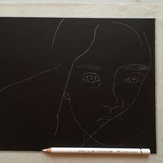 Little bit more on my drawing. Cosette from Les Misérables on black paper