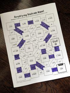 Algebra Simplifying Radicals Maze | Maze, Algebra and ...