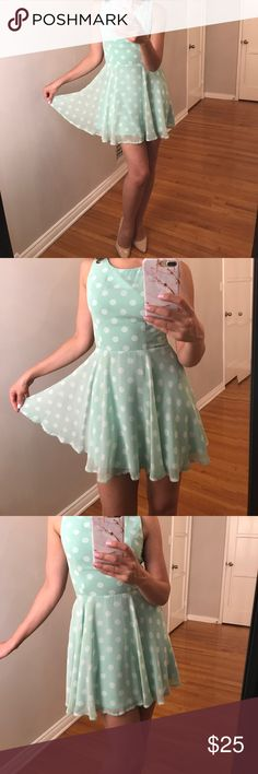 Zara Polka Dot Dress Mint green polka dot fit and flare dress. In great condition. Open back. Zip closure and buttons up at the top near the back of the neck. Very flattering fit. I am 5'6 for your reference. Would fit a size small or 4 best. NOTE : NOT ZARA, listed as such only for exposure. Zara Dresses