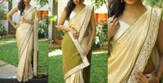 ZA2007-Rs.4500/-Gold pure georgette with olive green banarassi pallu. Sari finished with faux mirror border and olive green rawsilk piping on both side.Blouse-Olive green rawsilk with matching border Buy from below link:http://www.anjushankar.com/Product/Details/1573  12 February 2017