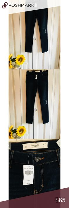 Abercrombie & Fitch super skinny! Size 4! Brand new with tags A&F super skinny jeans! These are brand new with the tags! They started at $108 & were marked down as you can see on the tag! Very cute jeans!   ———  #darkjeans #skinny #abercrombie #fitch #a&f #moose #skinnyjeans Abercrombie & Fitch Jeans