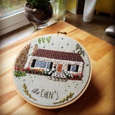 Nice little house. Surface embroidery project. #FrenchNeedleMayContest