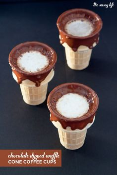 Chocolate-Dipped Waffle Cone Coffee Cups (Inspired by Alfred Coffee) | thesassylife