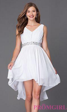 V-Neck Graduation High Low Dress at PromGirl.com