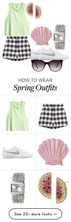 """""""Random outfit #16"""" by gabbygainer on Polyvore featuring H&M, Zara, Tiffany & Co., Betsey Johnson, NIKE, Skinnydip and Versus"""